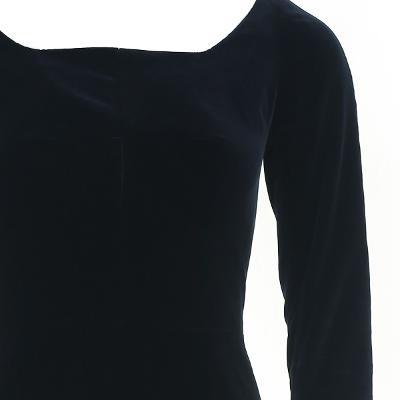 square neck flare dress black
